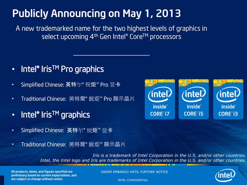 Intel 第四代 Core 處理器內建顯示晶片正式命名為 Iris Graphics (銳炬)